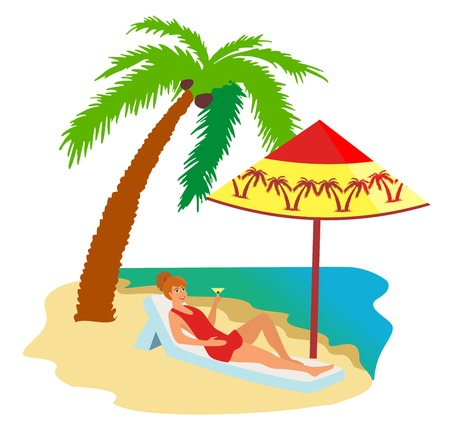 Woman in swimsuit sunbathing lying on lounger at sea or ocean beach. Beautiful girl drinking cocktail relaxing under palm tree. Summer holiday or luxury vacation. Flat vector illustration.