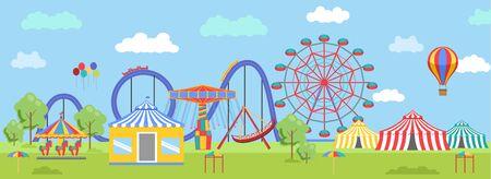 Amusement Park in flat colorful vector style. Ilustração