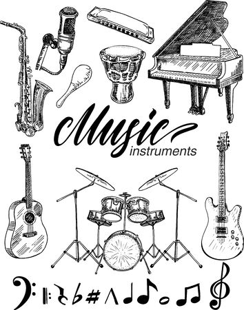 Set of monochrome images musical instruments. Sketch.