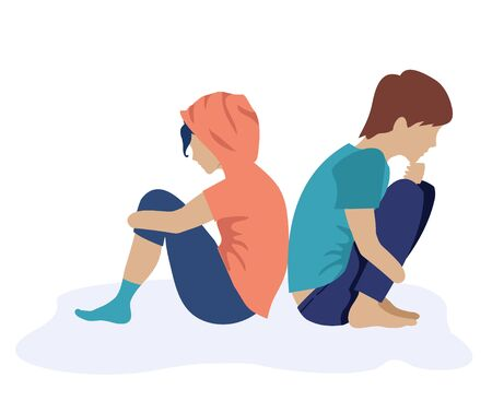 Couple young people sit back to back and grieve. Vector illustration. Guy and a girl sitting back to back.