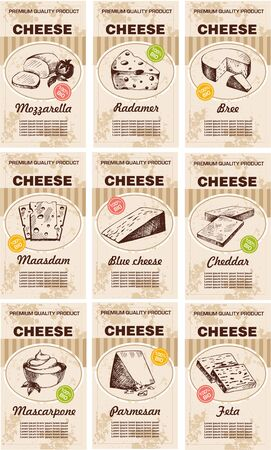 Sketch cards. Food menu design with cheese