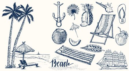 Summer set. Vintage vacation collection with Summer items.
