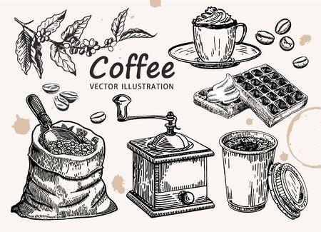 Hand drawn coffee set. Coffee vector, sketch.
