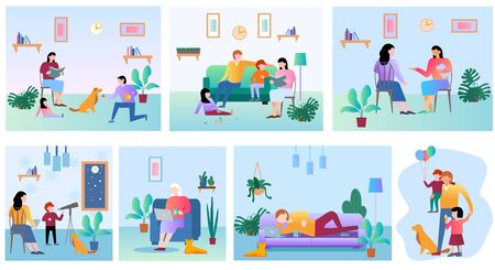 Family members spending time together at home. Flat