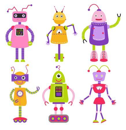 Cute cartoon robots set. Robots for girls