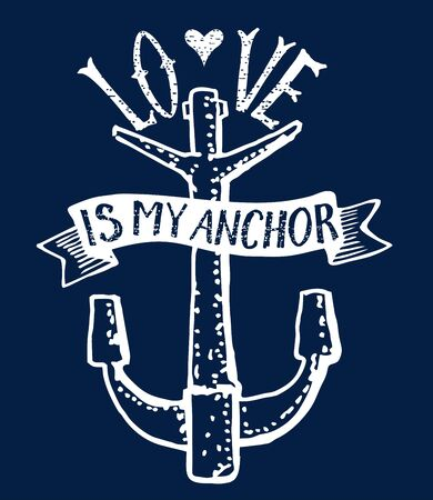 Love is my anchor lettering on a dark background