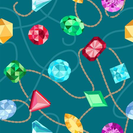 Seamless colorful diamond gemstones. Assorted Jewels pattern Illustration