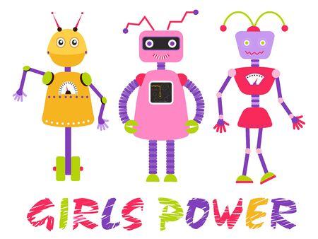 Girls power. Cute robot kids, vector illustration