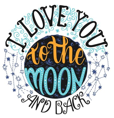 I love you to the moon and back 矢量图像