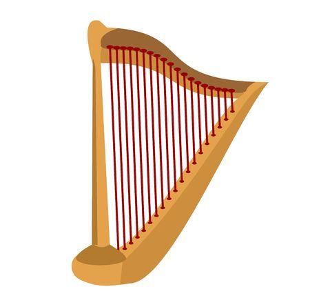 Wooden harp on white background. Classical string musical instrument Ilustração