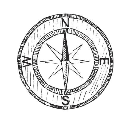 Bussola icona vettore schizzo segno Vettoriali