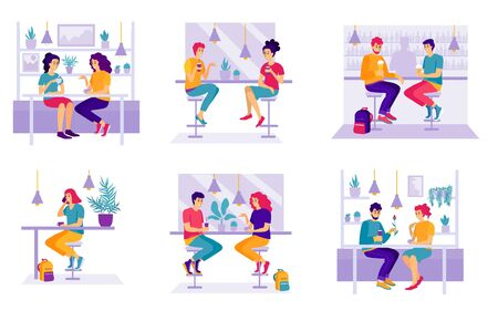 Set of men and women sitting at cafe or restaurant tables