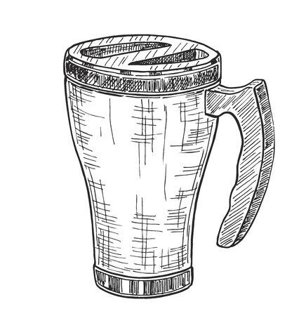 Thermo cup thermomug vector illustration Travel mug sketch