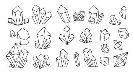 Crystal thin line icons big set. Outline sign kit of gemstone