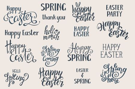 Hand written Easter phrases .Greeting card text templates