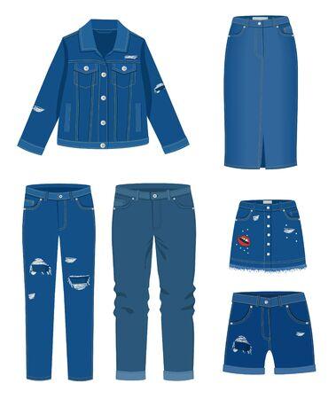 Trendy fashion ripped denim casual clothes vector illustration Çizim
