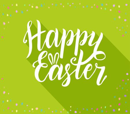 Happy easter Lettering inscription. Lettering with long shadow Ilustrace