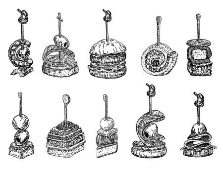 Tapas i zestaw obrazów canape. jedzenie ręcznie rysowane szkic ilustracji wektorowych