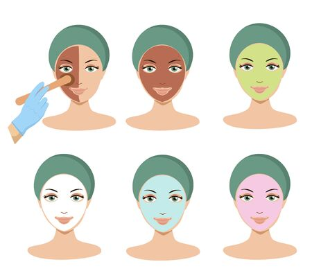 Young woman apply different facial masks. Line style vector illustration