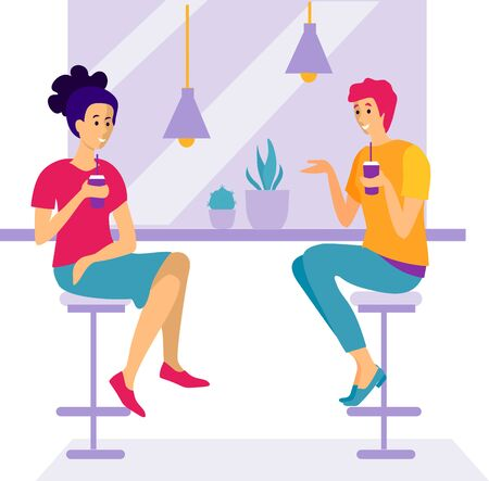 Two women sit in a cafe and and talk. Women sitting at cafe or restaurant tables talking to each other, drinking coffee with friend. Vector design illustrations.