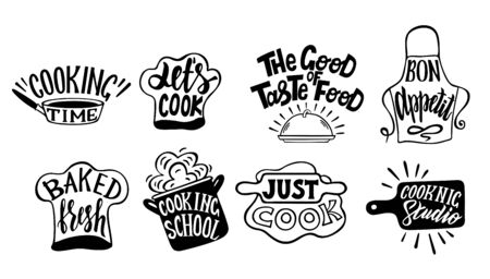 Cooking label set. Cook, food, eat, home baking icon