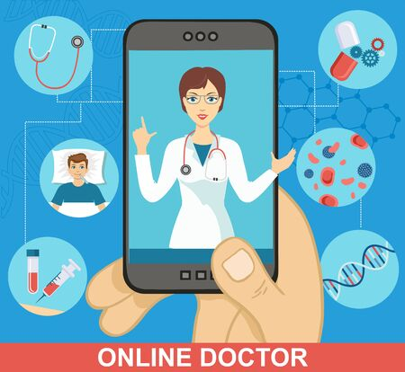 Online doctor app. Online health consultation via smartphone. The doctor prescribes treatment online. Ilustração