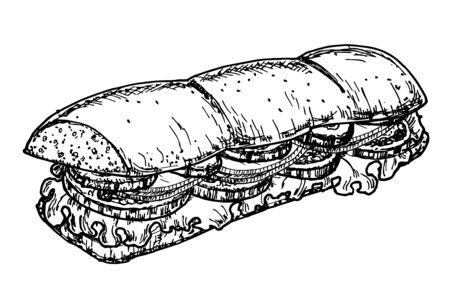 Sandwich ciabatta long avec tranches de jambon, fromage, tomates et feuilles de laitue