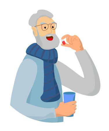 Alter Mann, der Pille für die Gesundheit isst. Krankheitsbehandlung Vektorgrafik