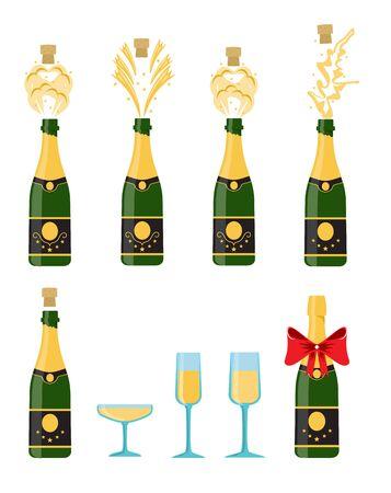 Several bottles of champagne being opened, vector illustration. Bottles and glasses