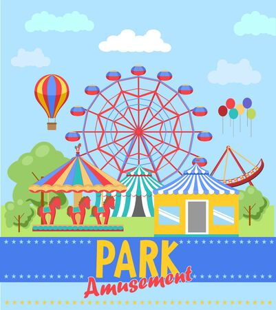 Amusement park poster. Ferris wheel and roller coaster Vectores
