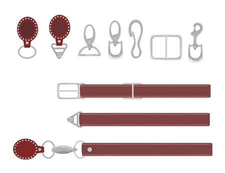 Leather belts with carabiner clasp collection vector set. Hook accessory for link illustration