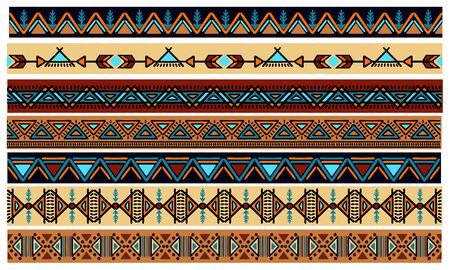Ethnic pattern. Set. Handmade. Horizontal stripes. Colored print for your textiles