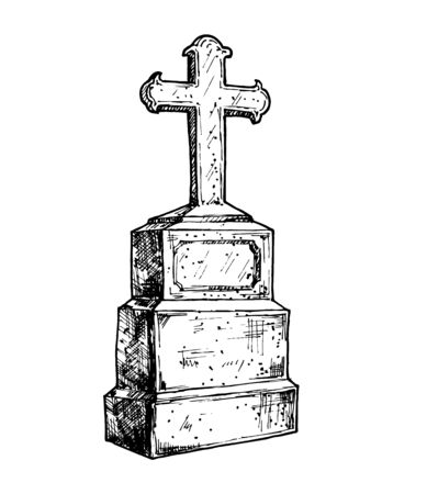 Old marble stone tombstone with christian cross