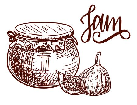 Jam in a clay pot. Fig jam hand drawn drawing. Fruit Jelly and marmalade Ilustração