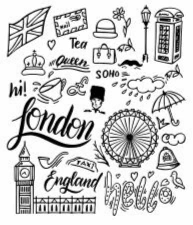 Insieme di doodle di Londra. Luoghi d'interesse, architettura e simboli tradizionali della cultura inglese