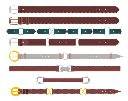 Leather belts. Leather belt with metal steel buckle vector set isolated