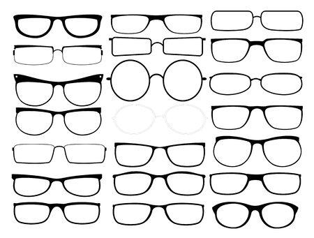 Cornici per occhiali vettoriali. Occhiali con montatura nera, sagome di occhiali da sole, montature per occhiali da vista per uomo e donna