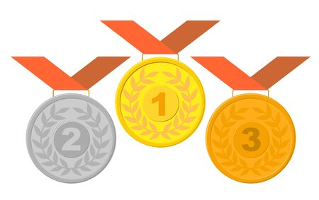 Gold, silver and bronze medal. medals with ribbons vector templates
