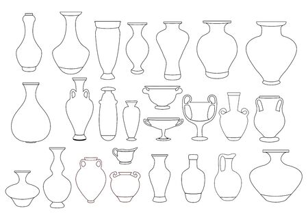 Vases and amphora linear illustration. Ceramic vase, ancient clay pot