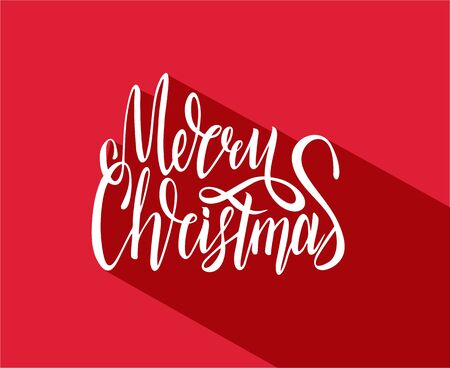 Merry Christmas vector text calligraphic lettering design card Ilustração