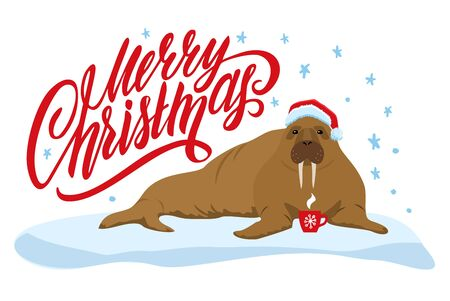 Merry Christmas card with cute walrus. Merry Christmas print.