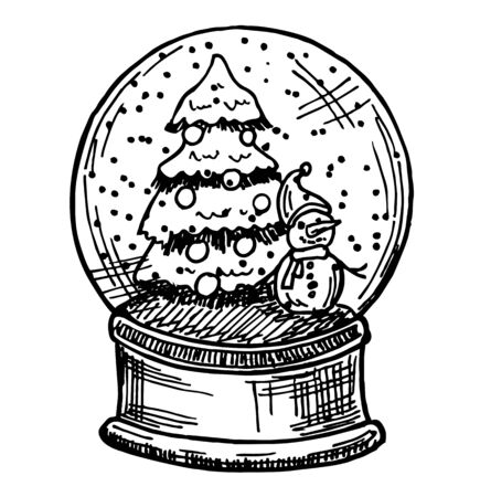 Merry christmas glass ball with a Christmas tree and a snowman