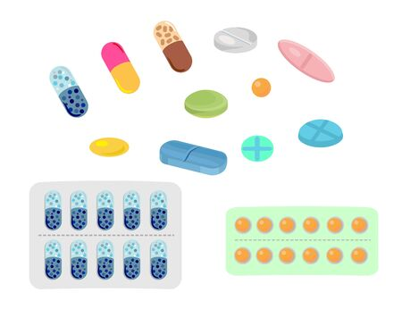 Colored pills and tablet, pills blisters. Cartoon illness capsules