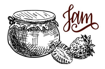 Jam in a clay pot. Strawberries jam hand drawn drawing
