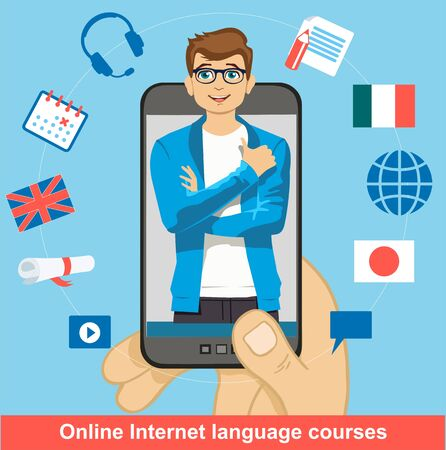 Foreign language online learning. Smartphone in the man s palm with a teacher on it. Ilustração