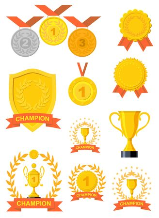 Awarding trophy and medal. Trophies and awards. Vector