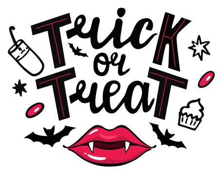 Trick or treat isolated quote and design elements. Vector holiday illustration. Hand drawn doodle letters, bats, sweets and lips of a vampire. Halloween poster, greeting card, print or banner. Illustration
