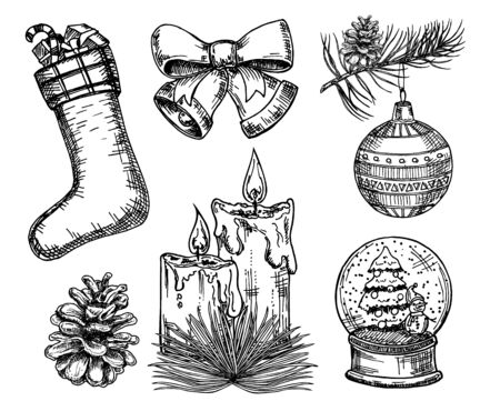 Christmas icons hand drawn sketch set. Isolated retro holidays object