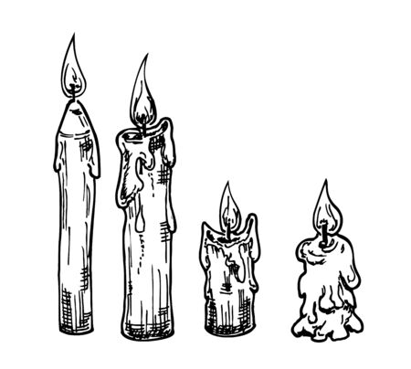Vector Set of Sketch Candles. Process of Candle Burning.