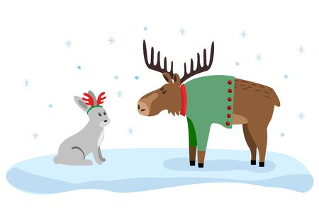 Cute moose and hare flat color illustration. Xmas drawing Ilustração